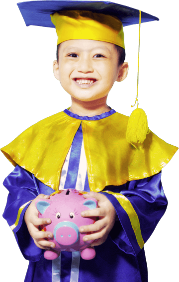 cute little boy dressed in graduation gown